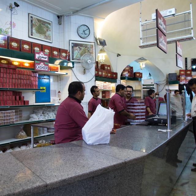 """Haj Khalifeh Ali Rahbar sweets shop, Yazd Province, Yazd, Iran"" stock image"
