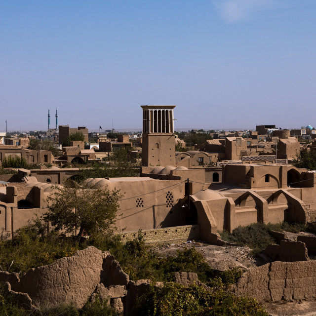 """View of a wind tower from Narin Qal'eh citadel, Yazd Province, Meybod, Iran"" stock image"