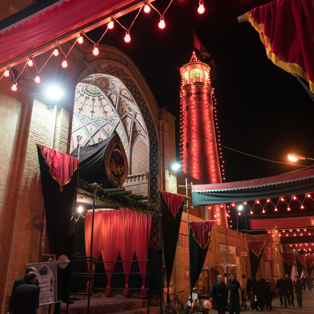 """Entrance of an Hosseinieh decorated for Muharram where shiite men come to..."" stock image"