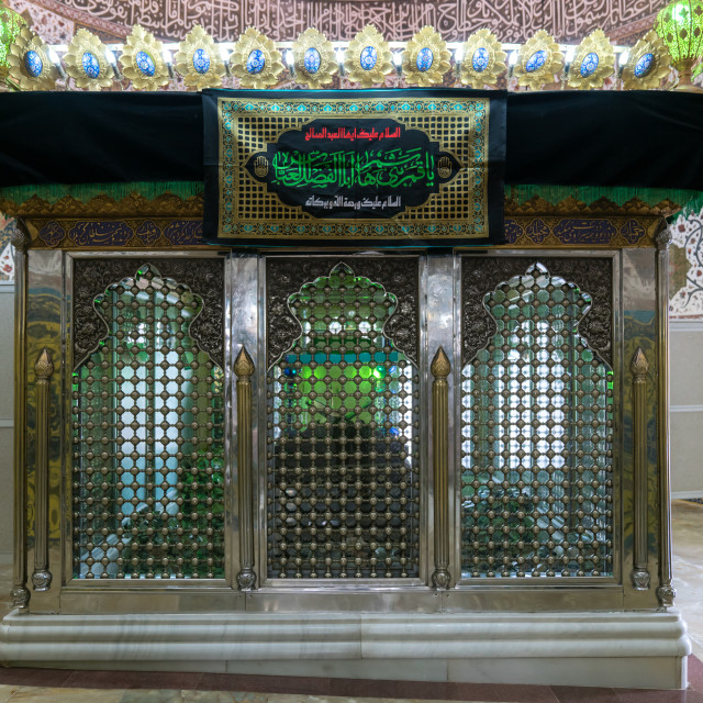 """Grave in the Shrine of sultan Ali decorated for Muharram, Kashan County,..."" stock image"