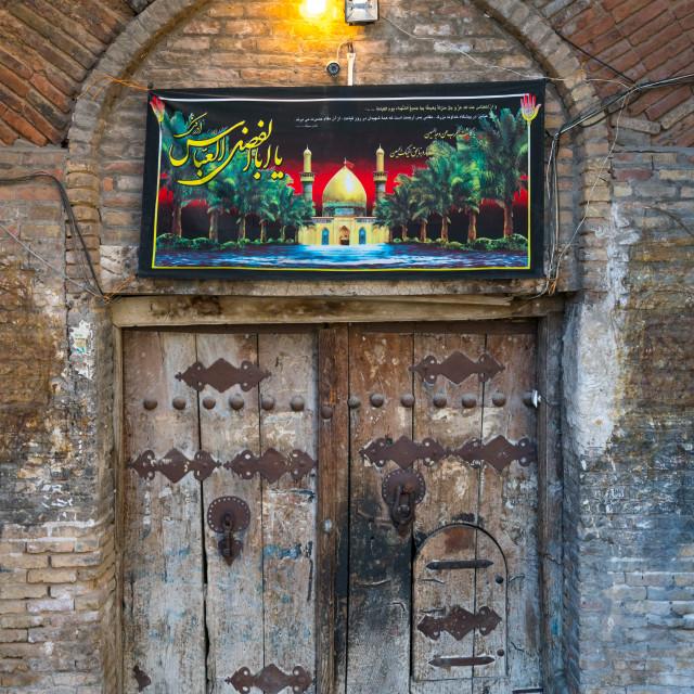 """old wooden door decorated for Muharram, Lorestan Province, Khorramabad, Iran"" stock image"