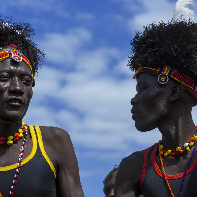 """Turkana Tribesmen With Headwears Made Of Ostrich Blackfeathers, Turkana Lake,..."" stock image"