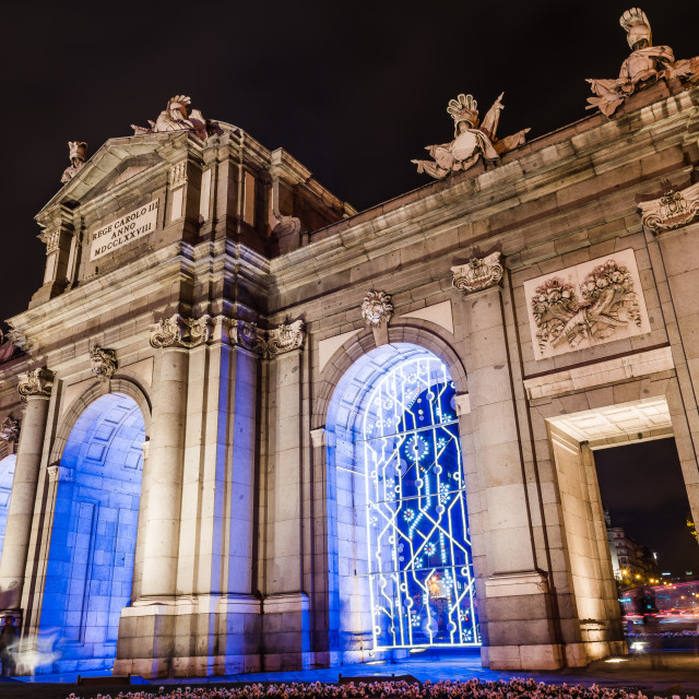 """Puerta of Alcala in Madrid at night on Christmas time"" stock image"