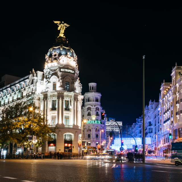 """Gran Via Street in Madrid at night on Christmas time with lighti"" stock image"