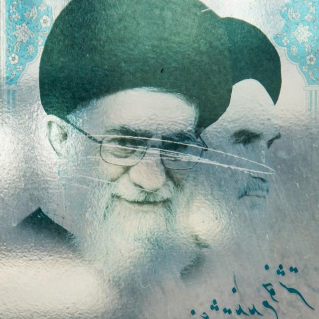 """khameini and khomeini billboard, Central district, Tehran, Iran"" stock image"