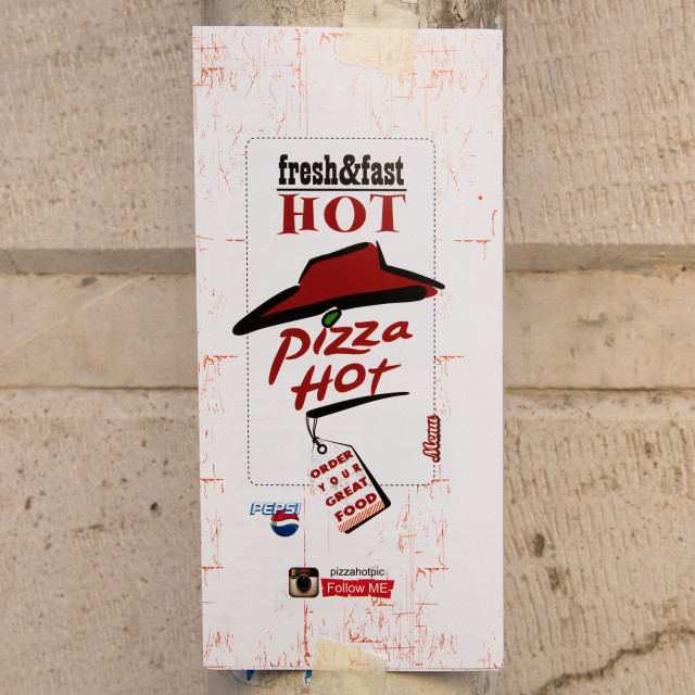 """""""pizza hot adverstising in the street, Central district, Tehran, Iran"""" stock image"""