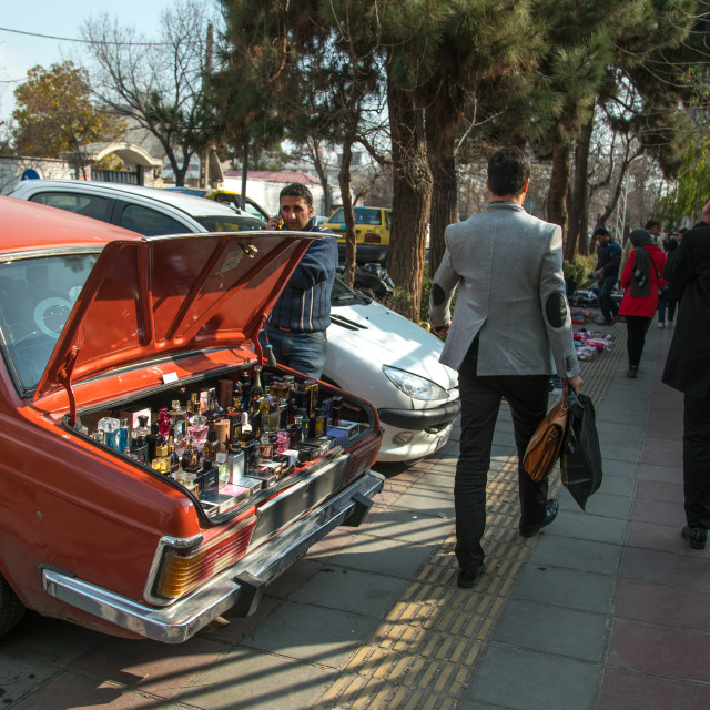 """""""man selling perfumes bottles in the back of his car in the street, Central..."""" stock image"""