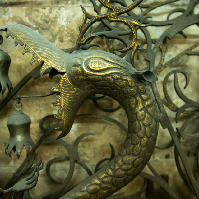 """iron dragon in master safar fooladgar workshop, Central district, Tehran, Iran"" stock image"