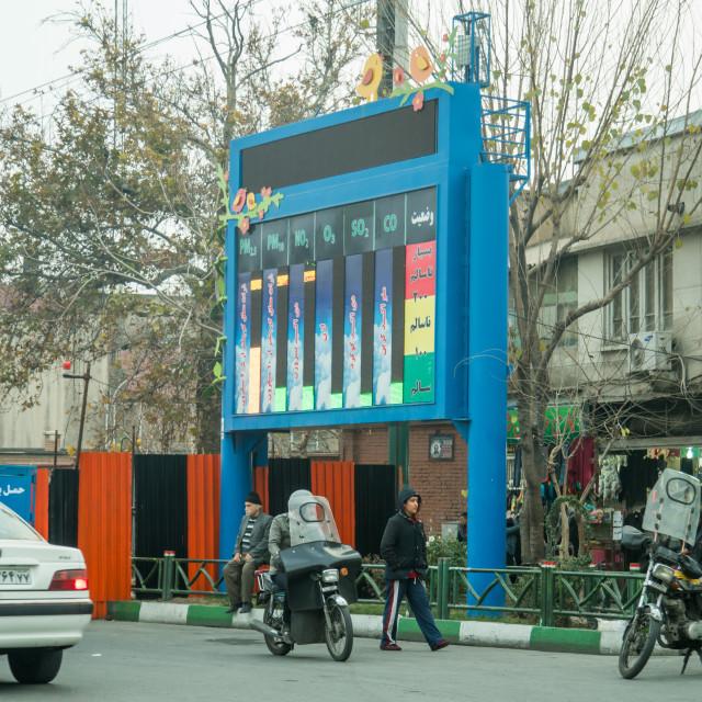 """pollution bulletin board, Central district, Tehran, Iran"" stock image"
