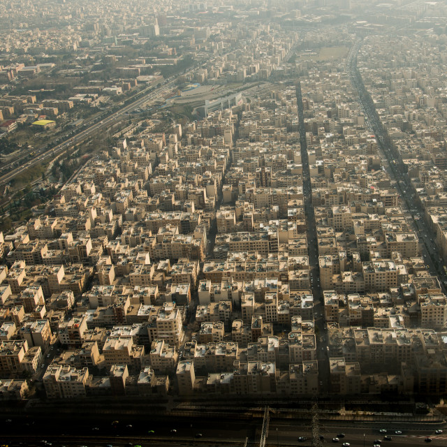 """""""view of the city from the top of the milad tower, Central district, Tehran, Iran"""" stock image"""