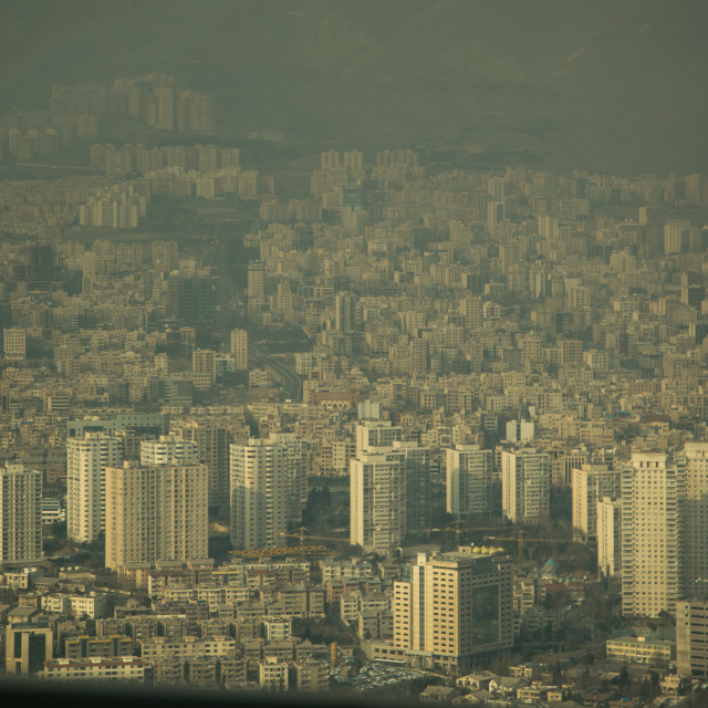 """""""view of the city with the pollution cloud from the top of the milad tower,..."""" stock image"""