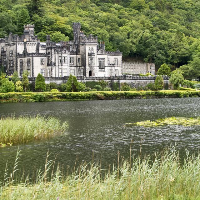 """A view of Kylemore Abbey, Connemara, Ireland"" stock image"