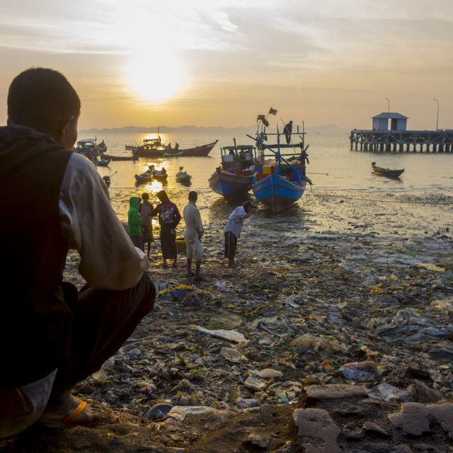 """The Harbour At The Mouth Of Kaladan River, Sittwe, Myanmar"" stock image"