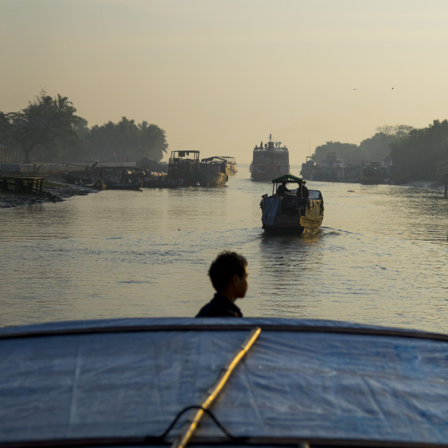 """""""Boats In The Port, Sittwe, Myanmar"""" stock image"""