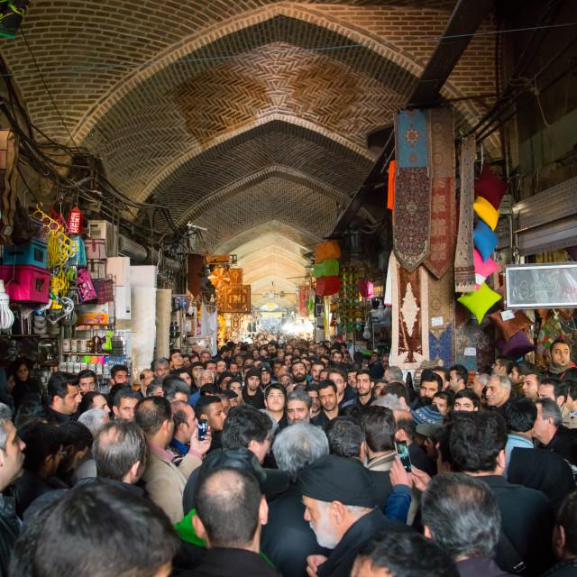 """iranian shiite muslim men celebrating ashura in the bazaar, Central district,..."" stock image"