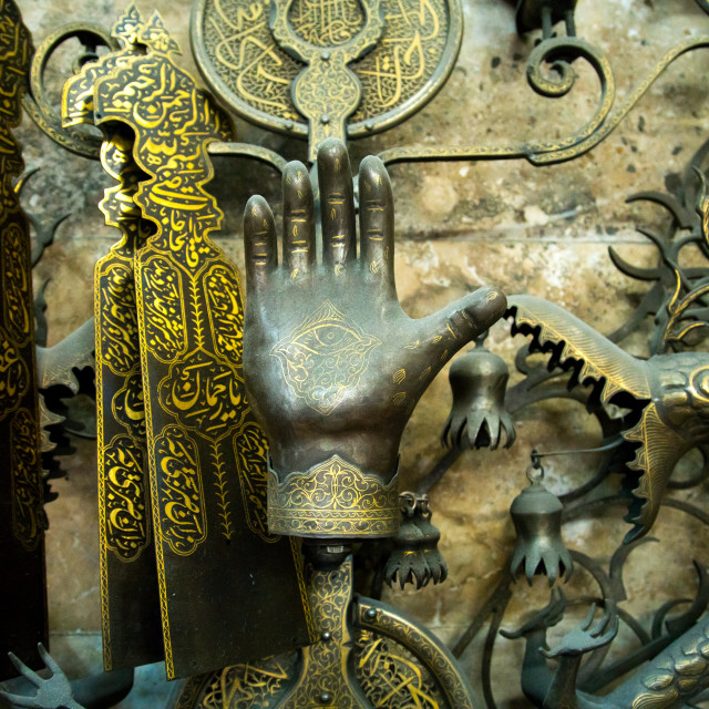 """iron hand in master safar fooladgar workshop, Central district, Tehran, Iran"" stock image"