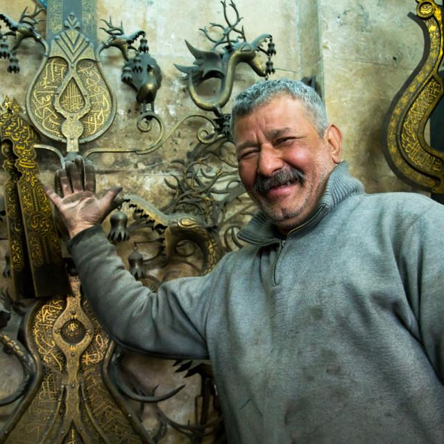 """""""master safar fooladgar creating an alam, Central district, Tehran, Iran"""" stock image"""