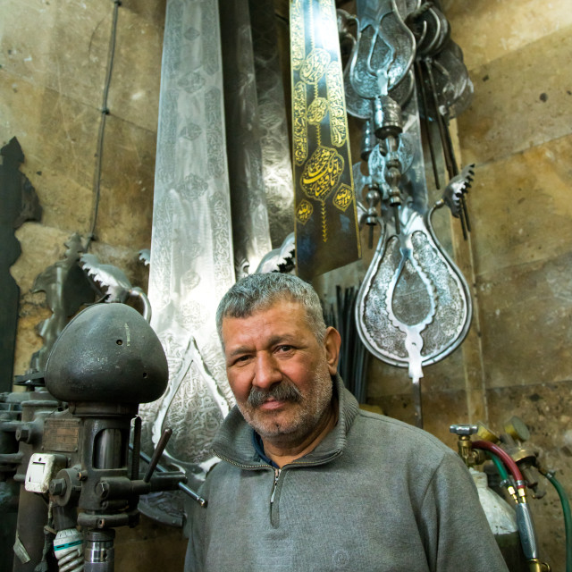 """alam master safar fooladgar in his workshop, Central district, Tehran, Iran"" stock image"