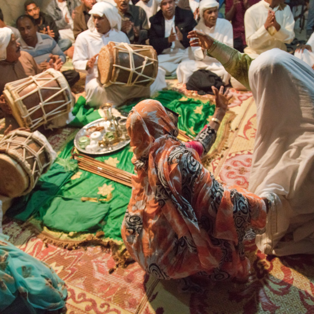 """women in trance during a zar ceremony, Qeshm Island, Salakh, Iran"" stock image"