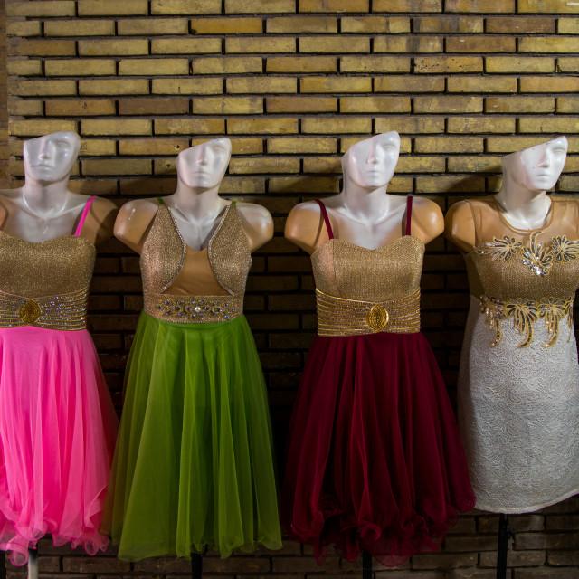 """mannequins with heads hald cut in ganjali bazaar, Central County, Kerman, Iran"" stock image"