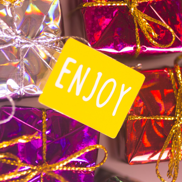 """Christmas party celebration presents"" stock image"