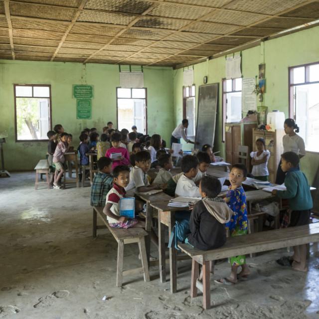 """Children At School, Mrauk U, Myanmar"" stock image"