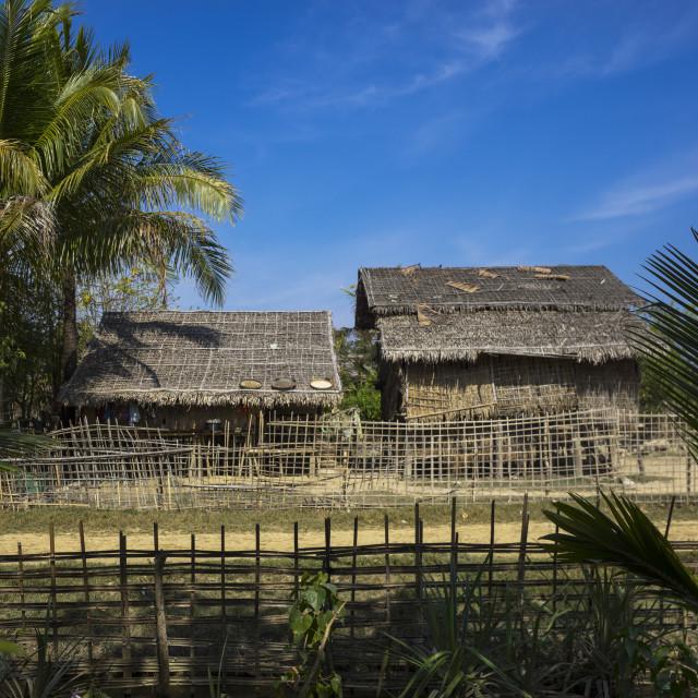 """Farmer House And Yard, Mrauk U, Myanmar"" stock image"