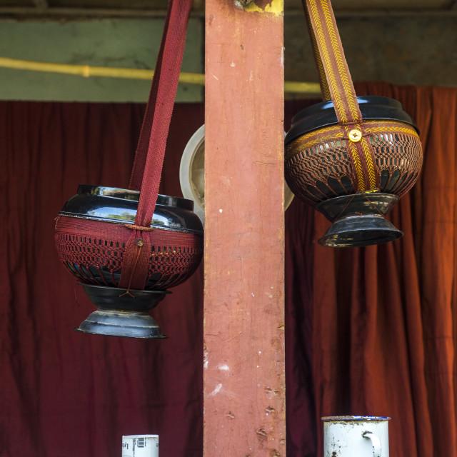"""Drinking Water Jars In A Temple, Mrauk U, Myanmar"" stock image"