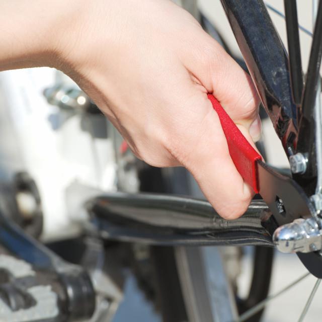 """""""Repairing Bicycle Closeup"""" stock image"""