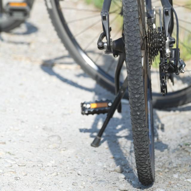 """Black Bicycle Closeup"" stock image"