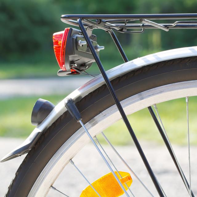 """Rear Bicycle Wheel Closeup"" stock image"