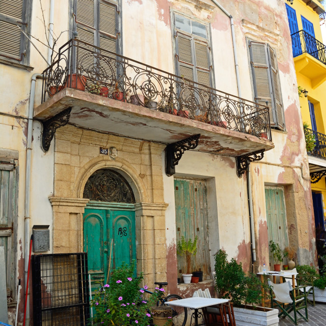 """Typical street scene in Chania, Crete"" stock image"