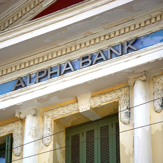 """Greek Alpha Bank building in Heraklion, Crete"" stock image"