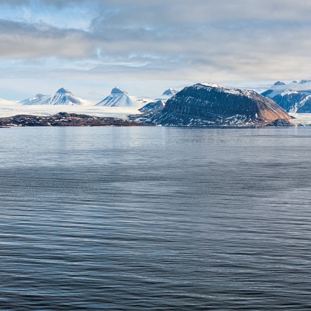 """""""Mountains and glacier in Svalbard islands"""" stock image"""