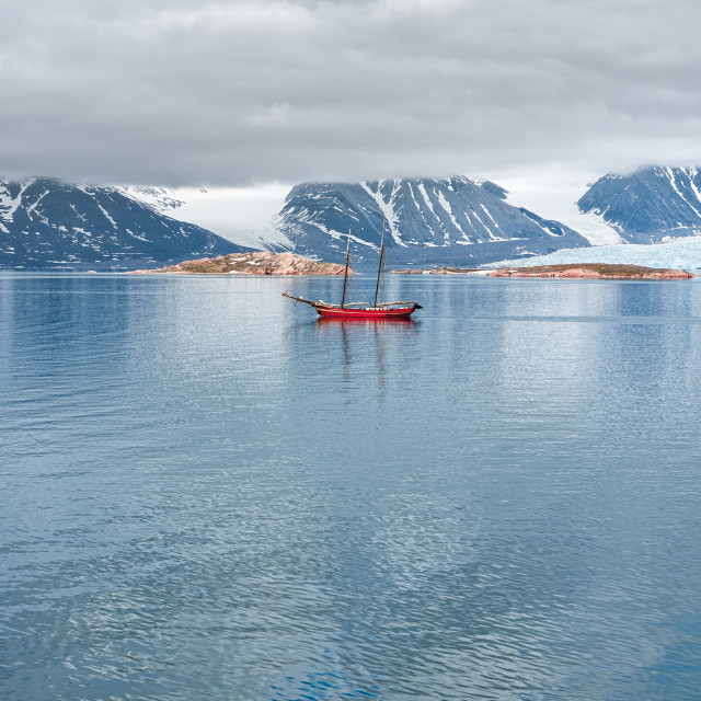 """""""Glacier, mountains and sailing ship in Svalbard islands"""" stock image"""