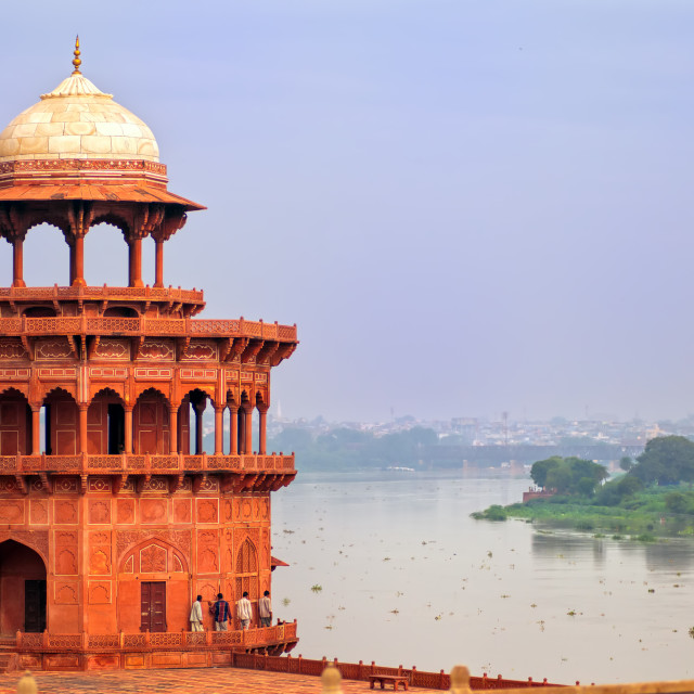 """Red tower of Taj Mahal complex in Agra, India"" stock image"