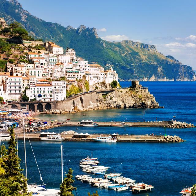 """""""Amalfi town on Mediterranean Sea, Naples, Italy"""" stock image"""