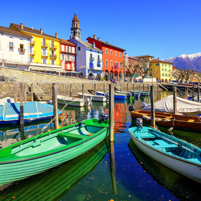 """Colorful boats in olt town of Ascona, Ticino, Switzerland"" stock image"