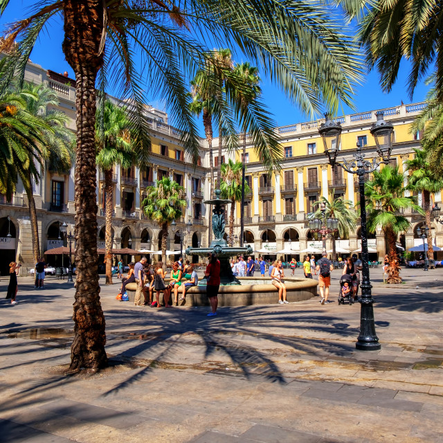 """Plaza Reial, Barri Gotic, Barcelona, Spain"" stock image"