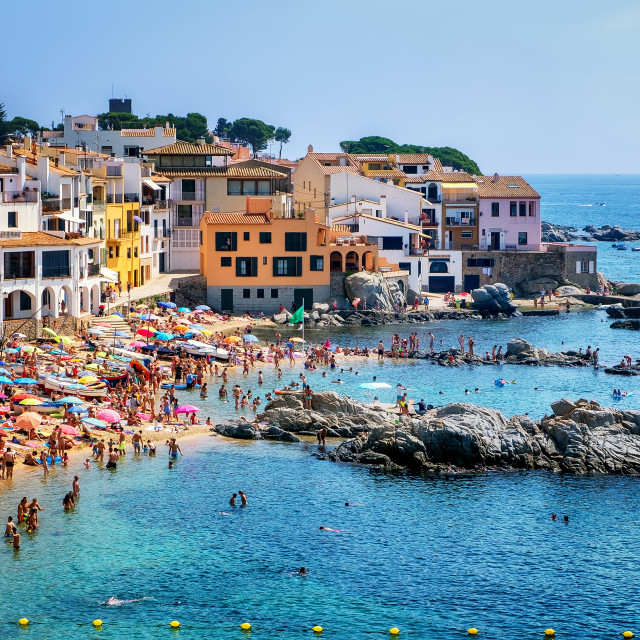 """Sand beach in Calella de Palafrugell, a popular resort town on Costa Brava,..."" stock image"