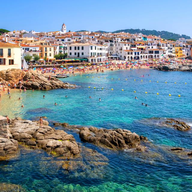 """Rocky beach in Calella de Palafrugell, a popular resort town on Costa Brava,..."" stock image"