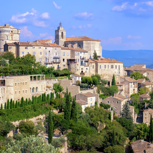 """""""Gordes, a medieval hilltop town in Provence, France"""" stock image"""