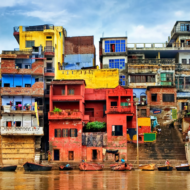 """""""Colorful houses on river Ganges, Varanasi, India"""" stock image"""