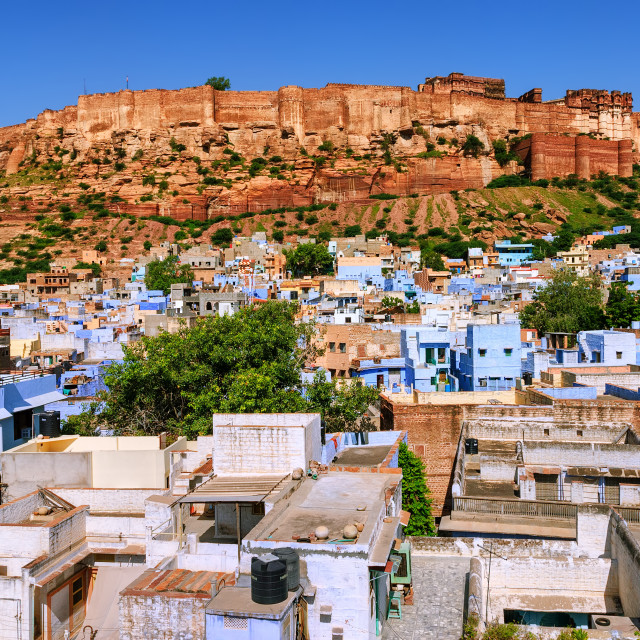 """Mehrangarh Fort, blue city of Jodhpur, India"" stock image"