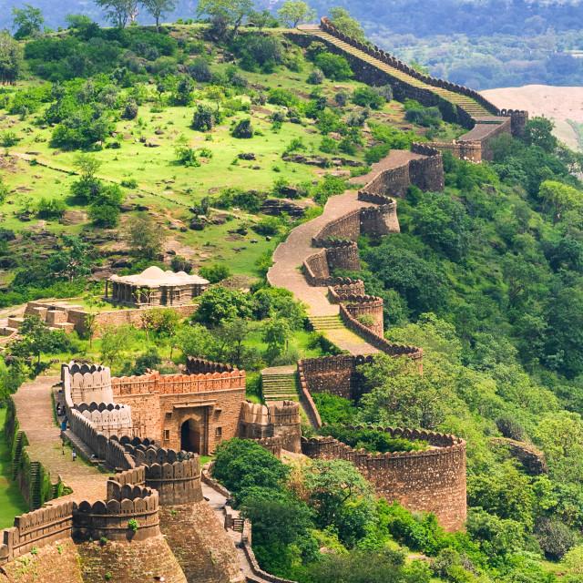 """Massive walls of Kumbhalgarh Fort, India"" stock image"