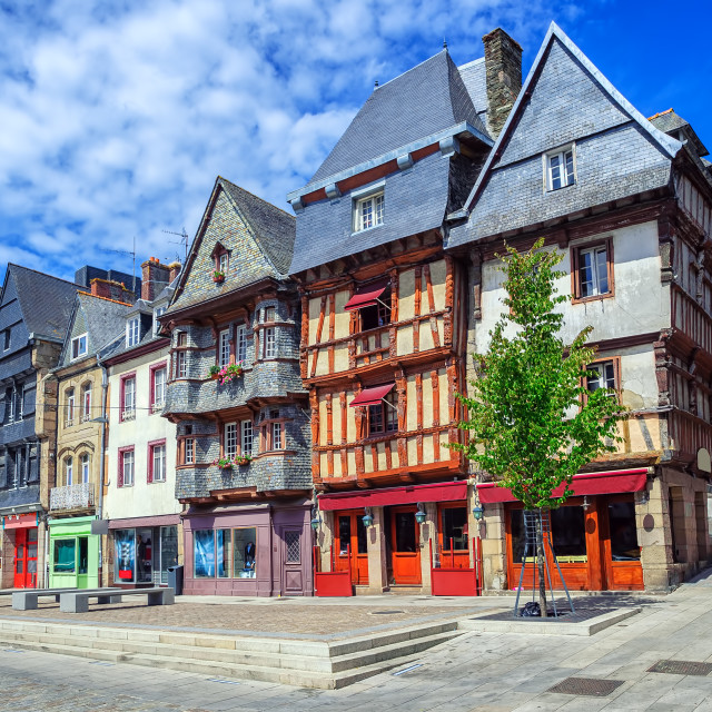 """Historical city center of Lannion, Brittany, France"" stock image"