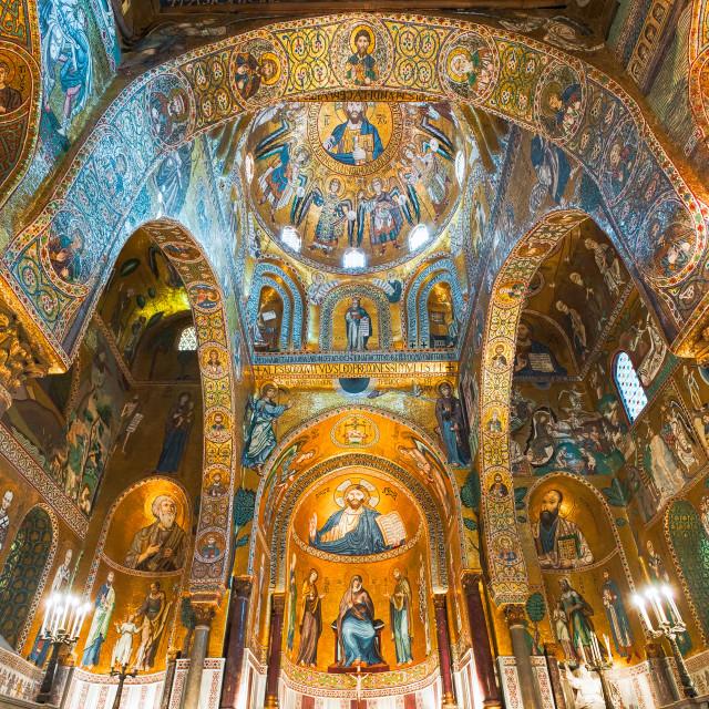 """""""Golden mosaics in La Martorana church, Palermo, Italy"""" stock image"""