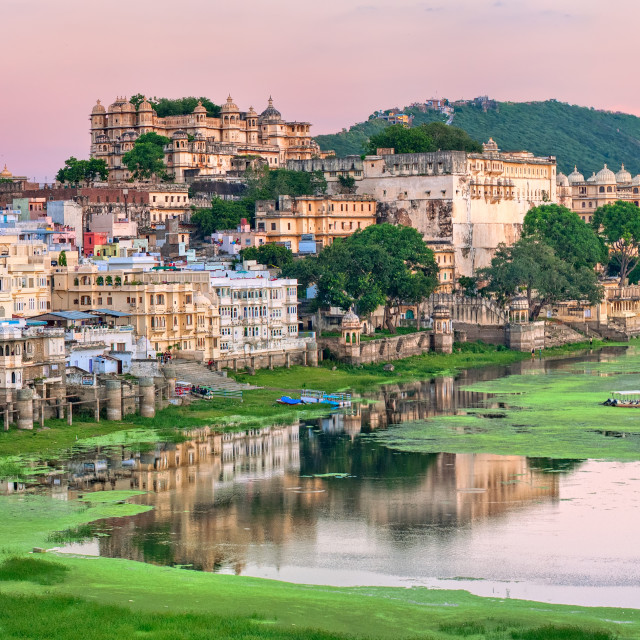 """""""View of Udaipur, India, on sunset"""" stock image"""