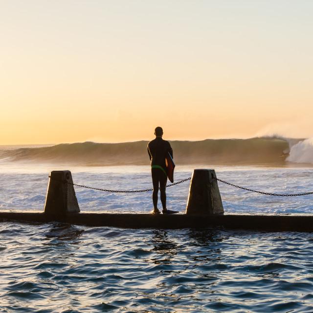 """Surfing Rider Tidal Pool Jump"" stock image"