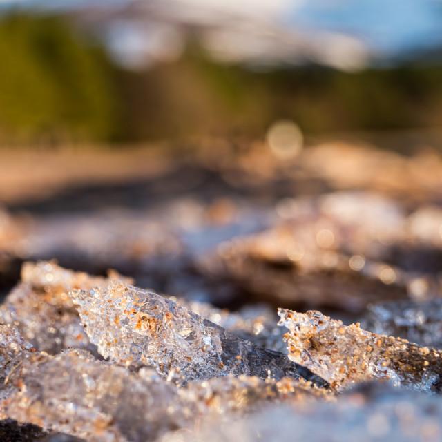 """""""Broken ice on sandy beach"""" stock image"""